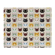 Cattitude - Cute Cat Expressions Pattern Throw Bla
