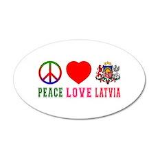 Peace Love Latvia 20x12 Oval Wall Decal