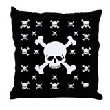Black Skull Throw Pillow