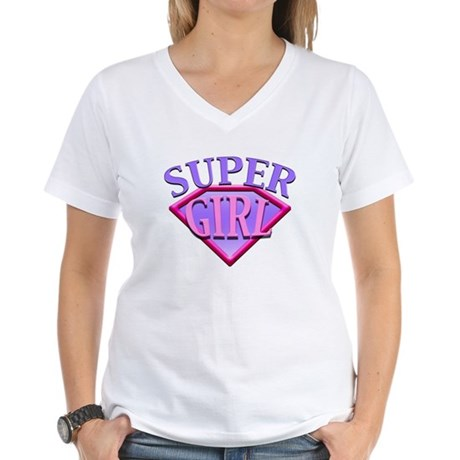 Super Girl (Pink) Women's V-Neck T-Shirt