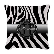 Black and White Zebra Woven Throw Pillow