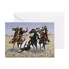 Remington cowboy art: Aiding a Comra Greeting Card