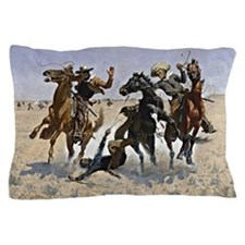 Remington cowboy art: Aiding a Comrade Pillow Case