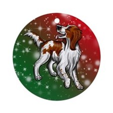 Irish Red And White Setter Holiday Colors Ornament