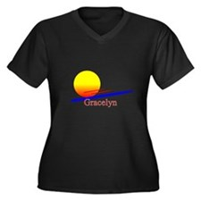 Gracelyn Women's Plus Size V-Neck Dark T-Shirt