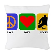 Peace Love Hockey Woven Throw Pillow