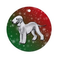 Blue Bedlington Terrier Holiday Background Ornamen