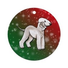Liver Bedlington Terrier Holiday Background Orname