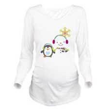 Cute Snowman and Penquin Long Sleeve Maternity T-S