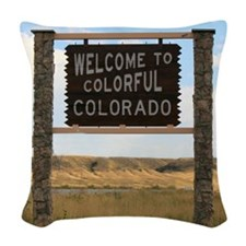 Welcome to Colorful Colorado R Woven Throw Pillow