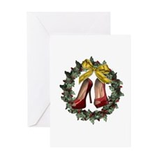 Red Stiletto Shoe Holiday Wreath Greeting Card
