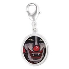 Creepy Clown Silver Oval Charm