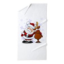 Santa, Rudolph Christmas Beach Towel