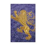 Rampant Lion - gold on blue Mini Poster Print