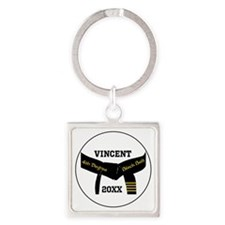 Martial Arts 4th Degree Black Belt Square Keychain