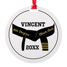 Martial Arts 4th Degree Black Belt Round Ornament