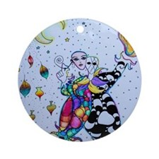 Colorful Jester Round Ornament