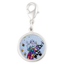 Colorful Jester Silver Round Charm