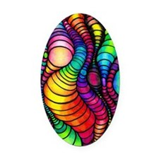 Colorful Tubes Oval Car Magnet