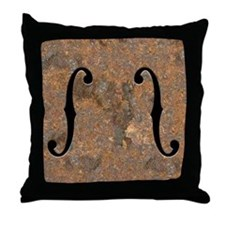 Rusty F-Holes Throw Pillow