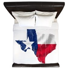 Texas Shape Flag Distressed King Duvet