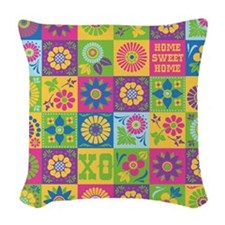 Neo-Folk Art Woven Throw Pillow