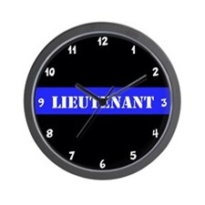 Police Lieutenant Thin Blue Line Wall Clock