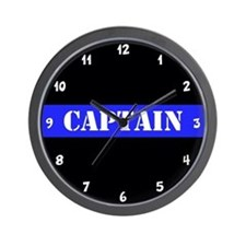Police Captain Thin Blue Line Wall Clock