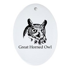 Great Horned Owl (line art) Ornament (Oval)