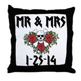 Skull wedding Throw Pillows