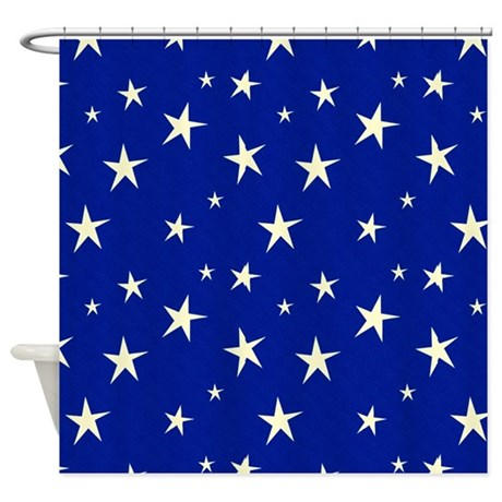 Blue With Stars Shower Curtain By Ibeleiveimages