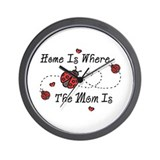 Ladybug Home Is Mom Wall Clock