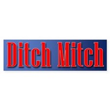 Ditch Mitch Bumper Sticker - Red On Blue