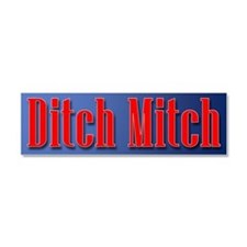Ditch Mitch Car Magnet - Red On Blue