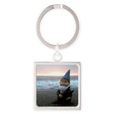 Sunset Gnome Square Keychain