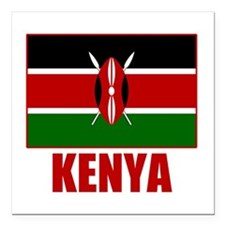 "Unique Kenya Square Car Magnet 3"" x 3"""