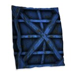 Rusty Shipping Container - blue Burlap Throw Pillo
