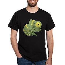 cute curled up chameleon lizard carto T-Shirt