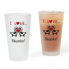 I Love Skunks Drinking Glass