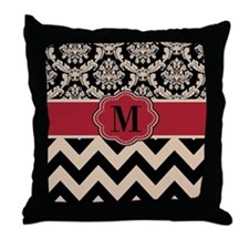 Red Tan Damask Chevron Throw Pillow