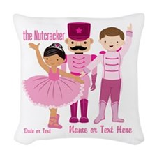 Personalize Pink Nutcracker Woven Throw Pillow