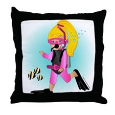 Scuba Girl (blonde) Throw Pillow