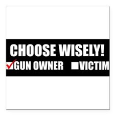 "Unique Funny gun Square Car Magnet 3"" x 3"""