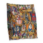 Medieval Illuminations Burlap Throw Pillow
