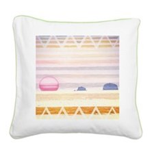 Beach Bonfire Square Canvas Pillow