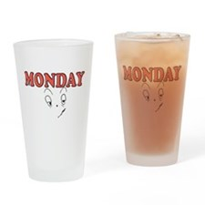 Monday FUNNY FACE Drinking Glass