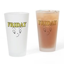 Friday funny face Drinking Glass