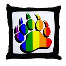 Gay Bear Paw / claw rainbow flag 3D e Throw Pillow