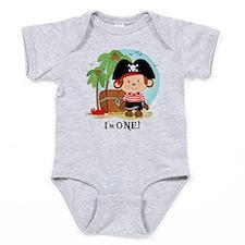 Monkey Pirate 1st Birthday Baby Bodysuit