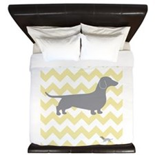 DOG ON YELLOW CHEVRON King Duvet
